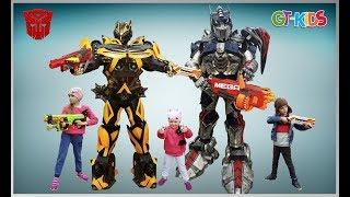 Трансформеры война Автоботов бластеры Nerf GT Kids Видео для детей
