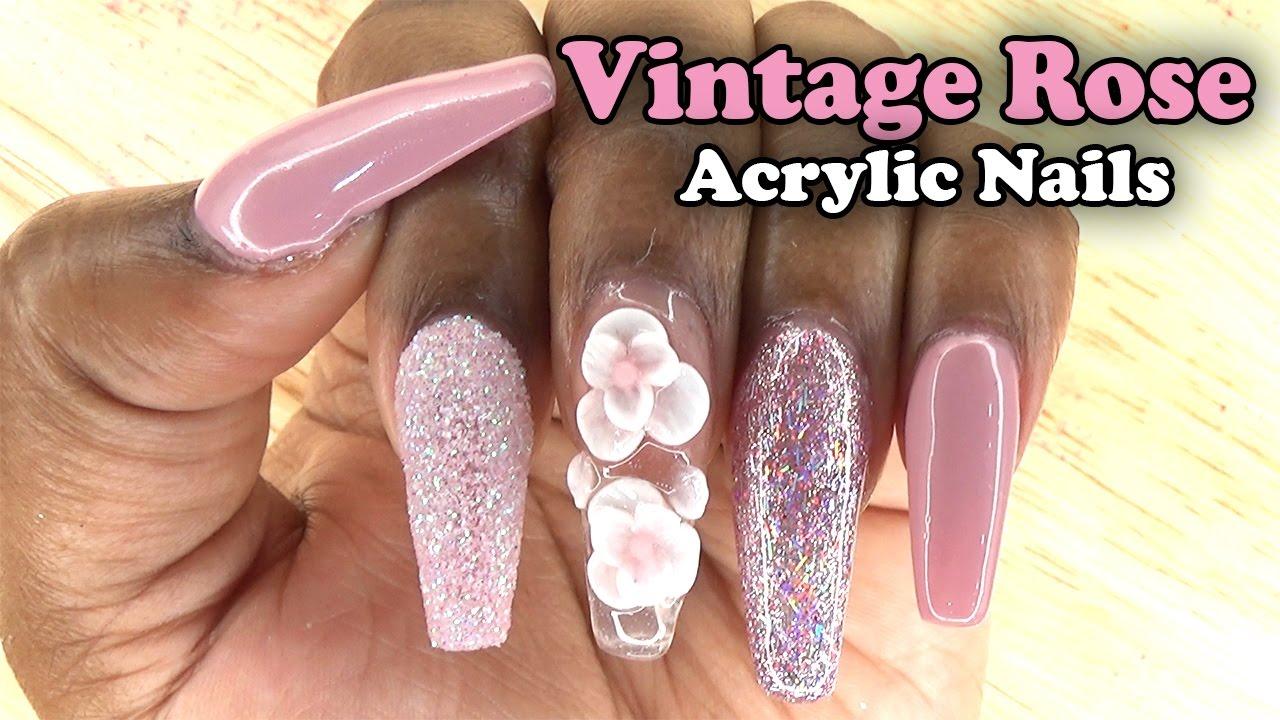 Vintage Rose Acrylic Nails w/ Sugar Glitter | Naio Nails Gel Polish ...