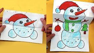 оТКРЫТКА - ИГРУШКА для детей / Как нарисовать СНЕГОВИКА