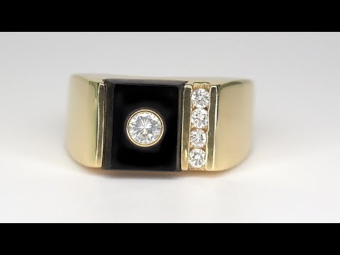 vintage-gentlemen's-designer-diamond-&-onyx-engagement-ring-heavy-solid-14k-yellow-gold