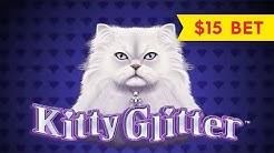 Kitty Glitter Slot - DRAMATIC & BIG WIN BONUS - $15 Max Bet!