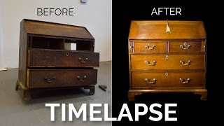 Timelapse Restoration of an Antique Georgian Oak Bureau - Before and After