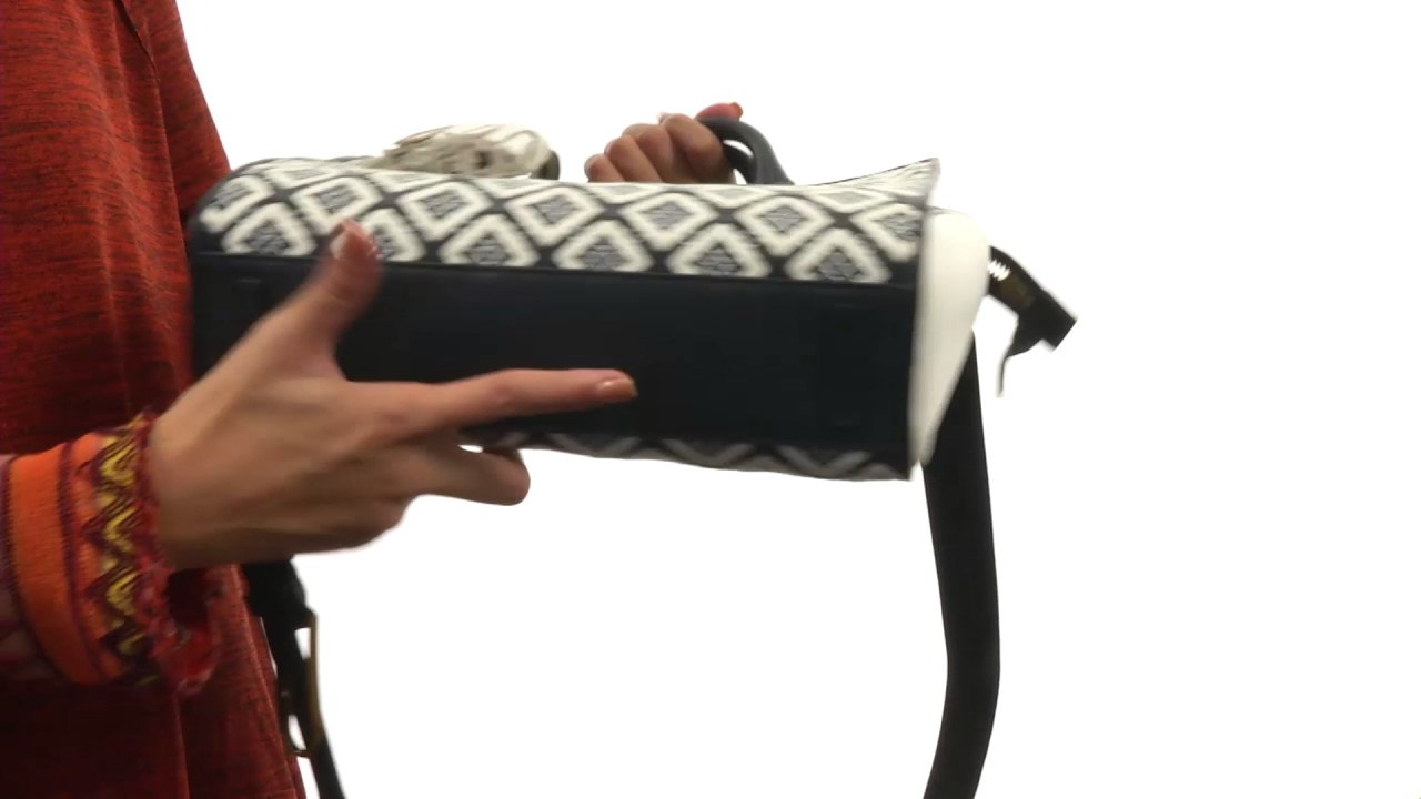 95505b6bd Tory Burch Robinson Woven-Leather Small Zip Satchel SKU 8843844. Shop Zappos