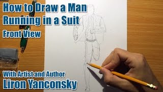 How to Draw a Running Man in a Suit - Part 1 - Drawing