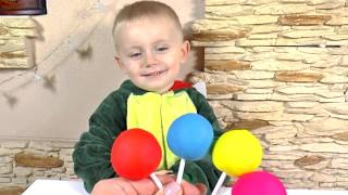 Learn Colors Play Doh pretend play with 5 Color Lollipops