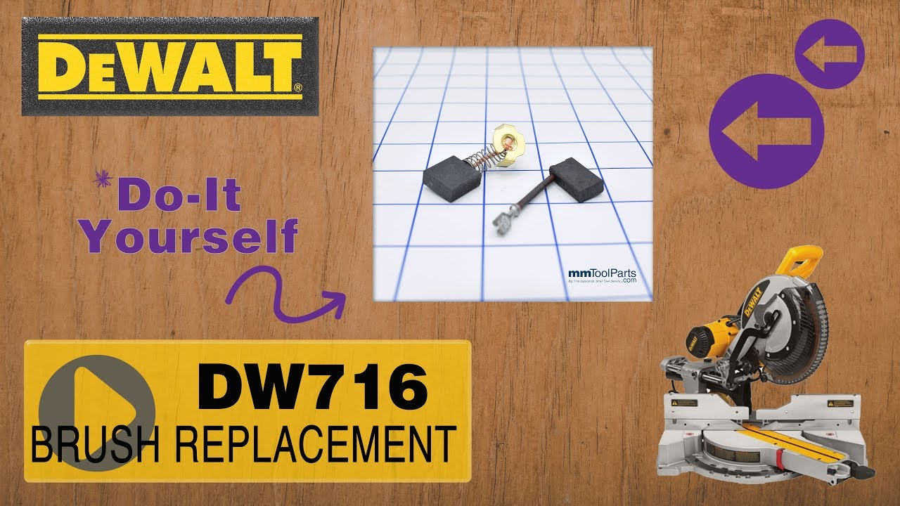 DW716 DeWalt Miter Saw - How and When to Replace Brushes (Part # 381028-08  or 614367-00)