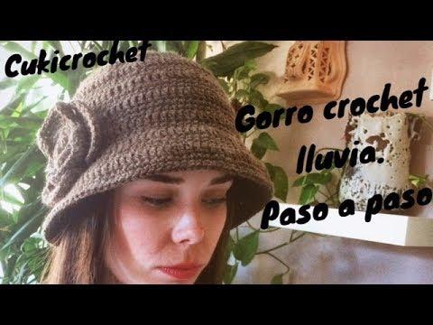 GORRO A CROCHET   GANCHILLO TIPO DE LLUVIA CON FLOR A UN LADO. PASO A PASO.  FÁCIL 08d3c0369ad