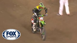 Repeat youtube video Adam Cianciarulo Pops Shoulder Back In, Keeps Riding - Toronto 2014 - 250 East Supercross