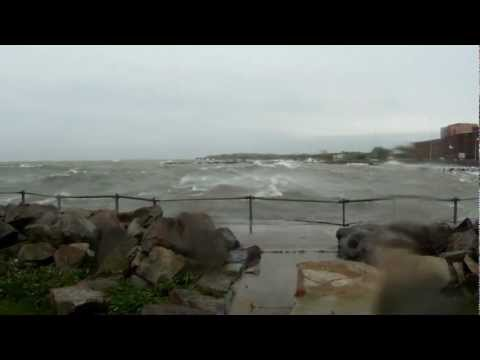 High Winds and Big Waves on Lake Erie in Cleveland Ohio in H