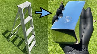How Much Aluminum In a 5ft Ladder - Big Bars - ASMR Metal Melting - BigStackD Casting Bars & Skulls