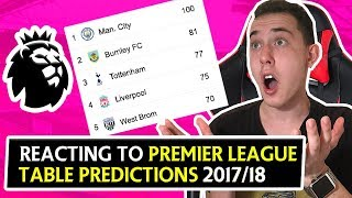 Reacting to our premier league 2017/18 table predictions !