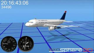 Flight 1549 previsualization - Heading Pitch Bank, Airspeed and Altitude