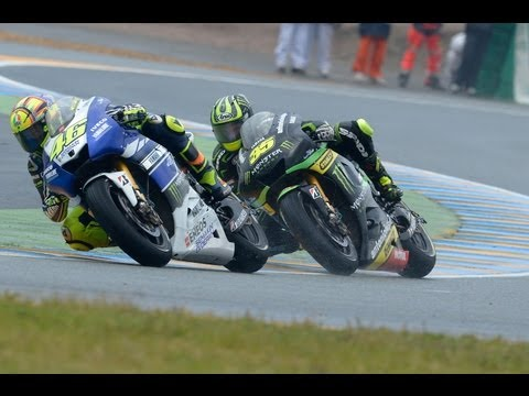 Cal Crutchlow charges at Le Mans MotoGP 2013 with Lewis Hamilton for company