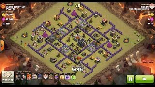 Clash of Clans TH9 vs TH9 Golem, Wizard, Witch & Valkyrie (GoWiWiVa) Clan War 3 Star Attack