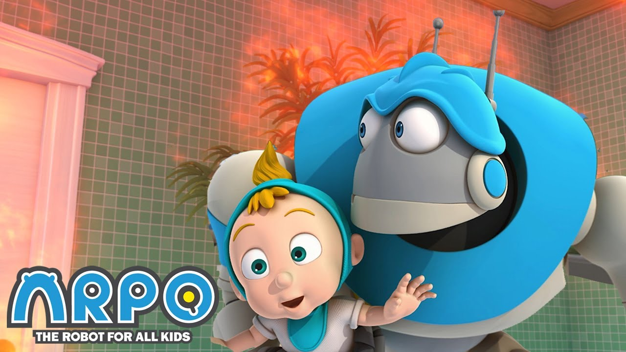 The Bathroom is on FIRE! - ARPO the Robot | 에피소드를보고 | Cartoons for Kids | Robot Animation