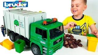 МАШИНКИ БРУДЕР Мусоровоз MAN убирает мусор после Трактора. Bruder Toys Garbage Truck for Kids(Машинки Брудер. Мусоровоз MAN Игрушки для детей Bruder Toys Garbage Truck for Kids Сегодня у нас Распаковка мусоровозки..., 2017-01-31T06:00:16.000Z)