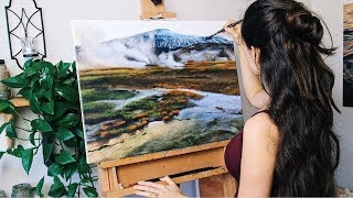 Oil Painting Time Lapse | Iceland Landscape, Hot Springs