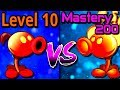 Plants vs Zombies 2 Compare Mastery 200 vs Level 10 Fire Peashooter PvZ 2 Gameplay