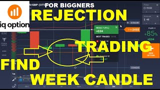 IQ OPTION REJECTION TRADING IN WEEK CANDLE | IQ OPTION REJECTION STRATEGY | IQ OPTION URDU HINDI.