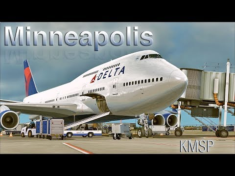 FSX [HD] - Delta Boeing 747-400 | Approach to Minneapolis–Saint Paul International Airport