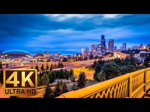 4K Urban Relaxation Video - 1.5 Hours City Sounds - Night Seattle from Dr. Jose Rizal Park