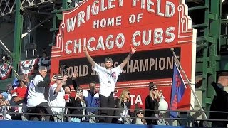 Chicago Cubs World Series Parade in front of Wrigley Field Marquee Wrigleyville 2016