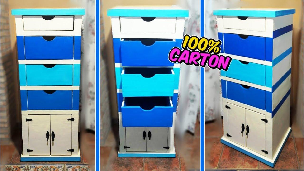 Manualidades de cart n mueble organizador diy como for Manualidades con cajones de madera
