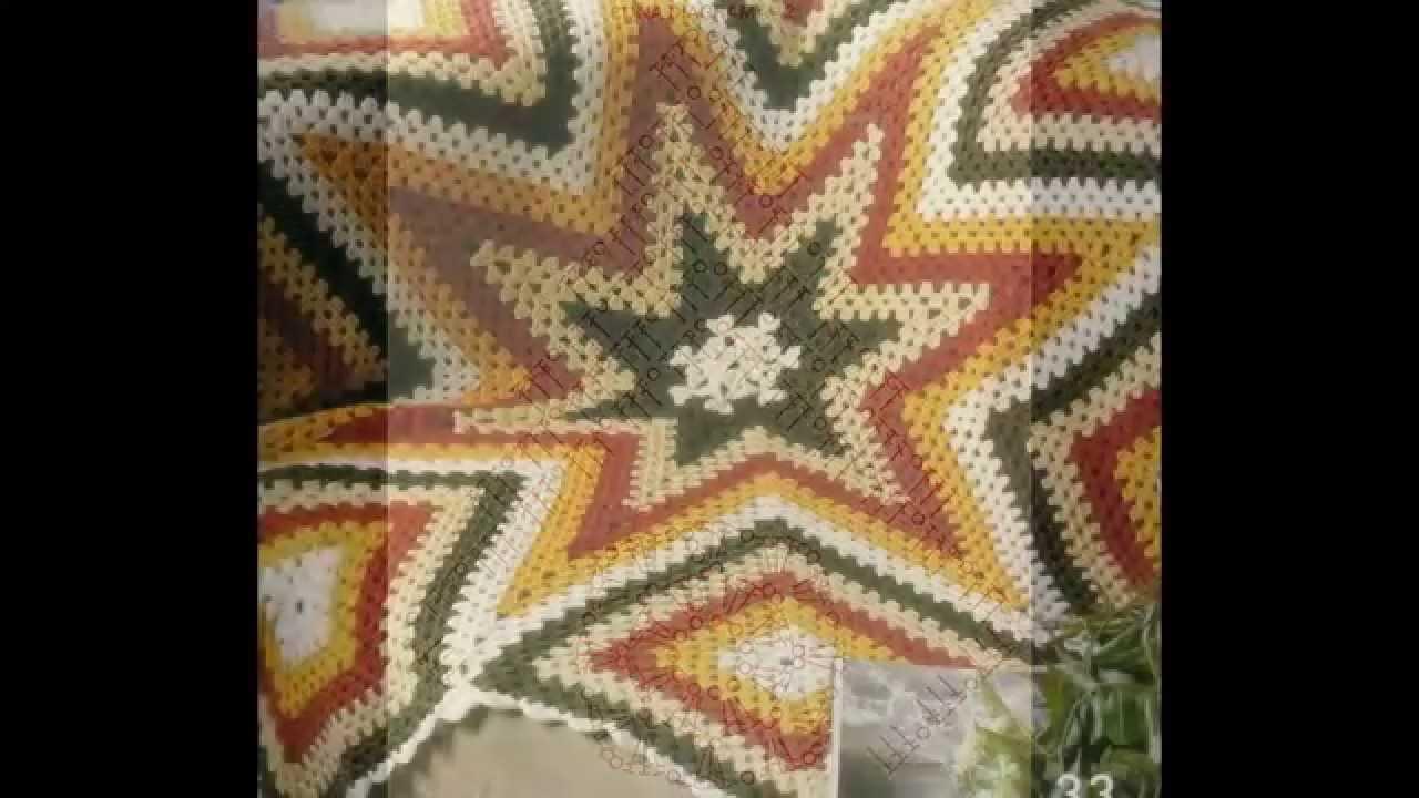 Como Tejer Colcha de estrellas y cuadros multicolor a crochet - YouTube