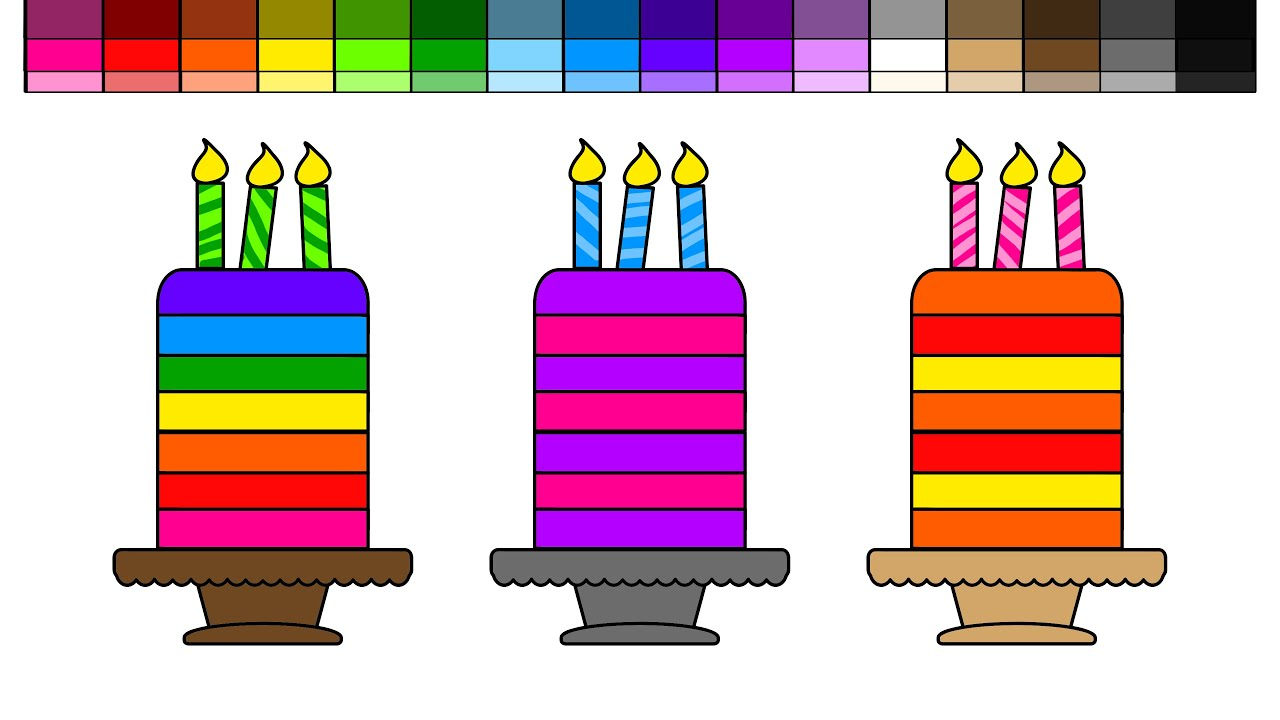 learn colors for kids and color 3 rainbow layer birthday cake