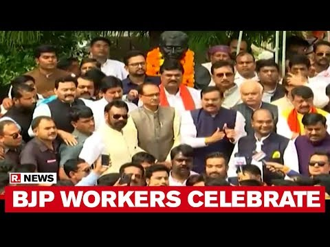 BJP Workers Celebrate At Party Office In Bhopal As Kamal Nath Govt Falls