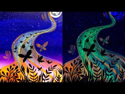 UV Glow Butterflies Acrylic Painting Sunday Funday Flames Birthday