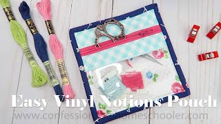 Easy Mini Vinyl Notions Pouch // SEWING TUTORIAL!