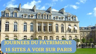 JOURNEES DU PATRIMOINE :  15 SITES A VISITER SUR PARIS