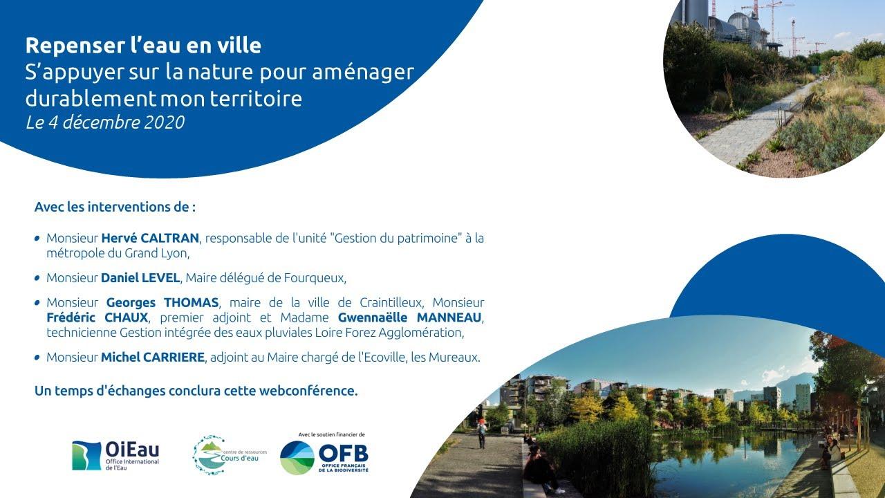 Webconférence OiEau – Repenser l'eau en ville – 4 décembre 2020