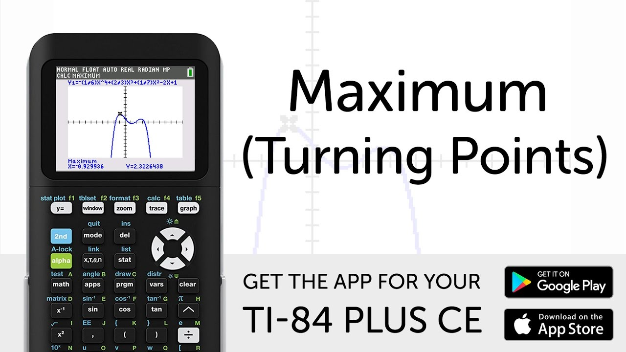 Maximum (turning points) manual for ti-84 plus ce graphing.