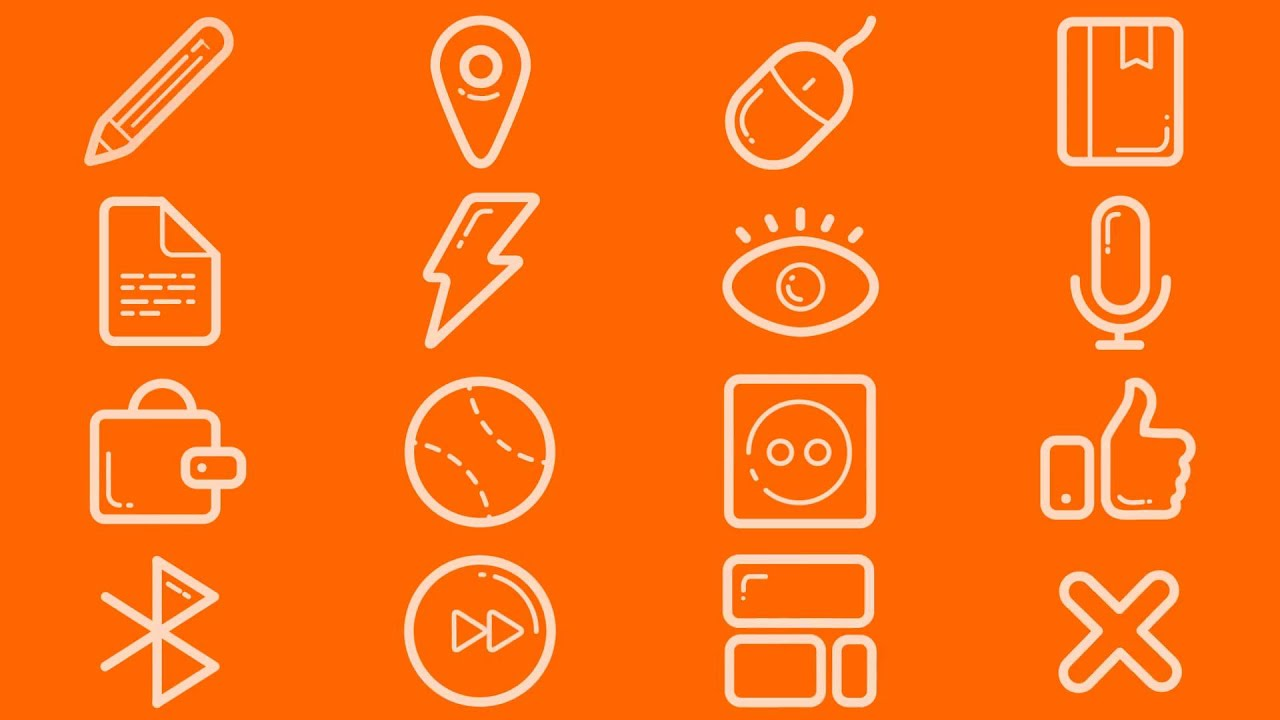Animated 112 Fresh Animated Icons Line Icons - After Effects Royalty Free  Template