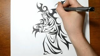 Drawing Jesus Carrying the Cross - Tribal Art Tattoo Design Style