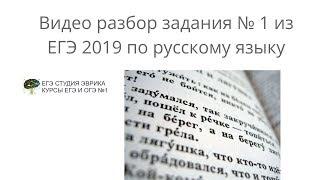 Разбор ЕГЭ по Русскому языку 2019: задание 1