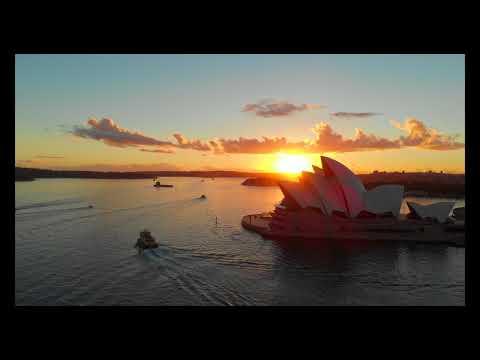 4k Drone Footage Of Sydney Opera House And Harbour Bridge, Australia