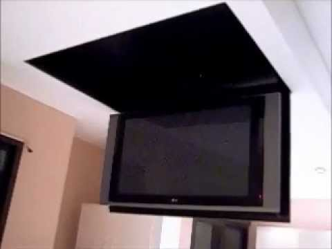 Motorized flip down tv lift from the ceiling youtube for Motorized ceiling tv mount