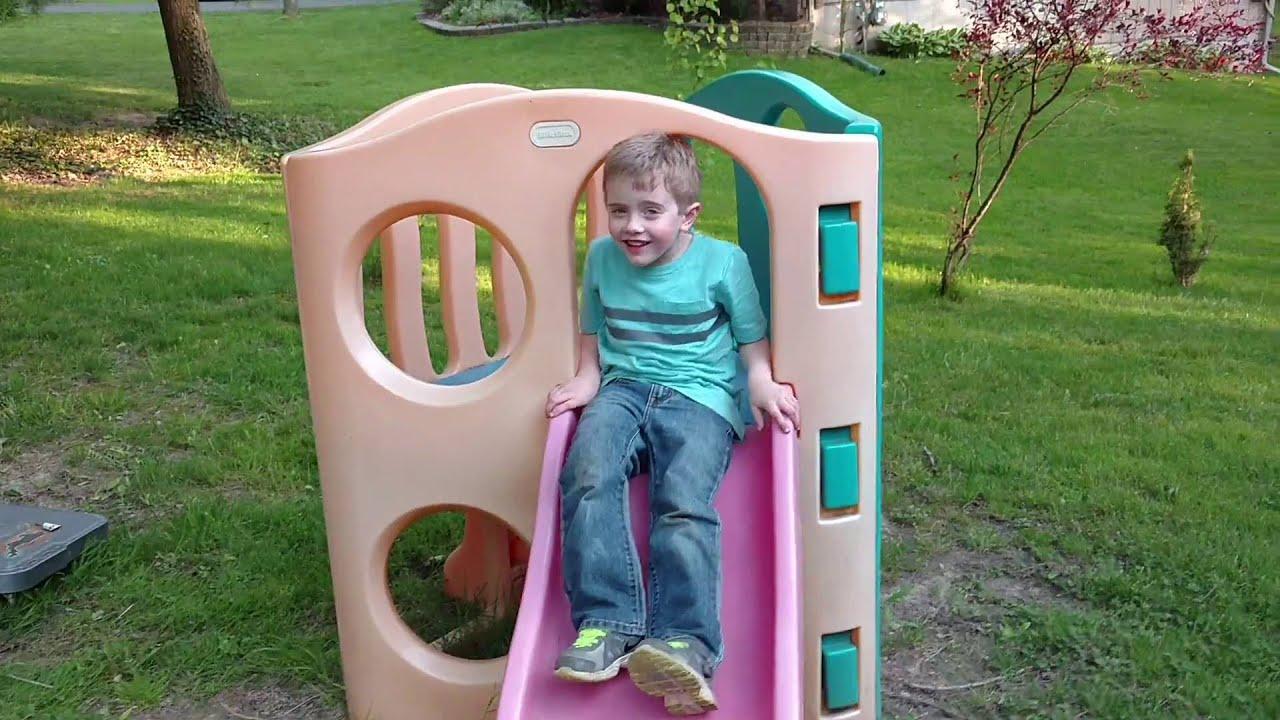 Little tikes slide fun on little tike slide playground playing