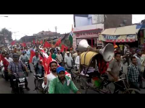 Trade unionists marching in Amritsar
