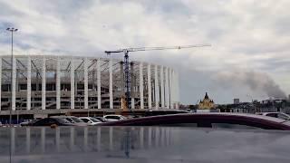 Пожар на фоне стадиона Нижний Новгород. Москва сгорела целиком?
