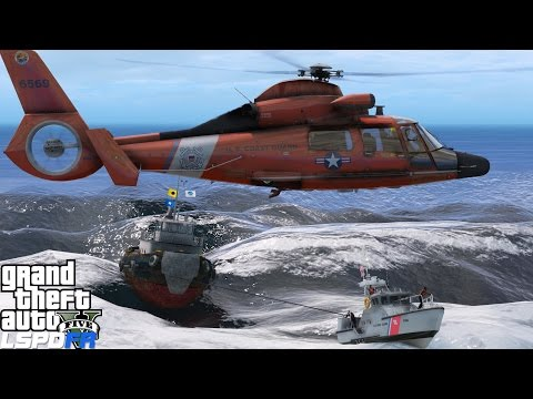 GTA 5 LSPDFR USCG Coastal Callouts   Sinking Tug Boat Rescue In The Middle Of The Sea During A Storm