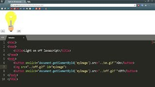 how to turn on off light in javascript web page using html and JavaScript