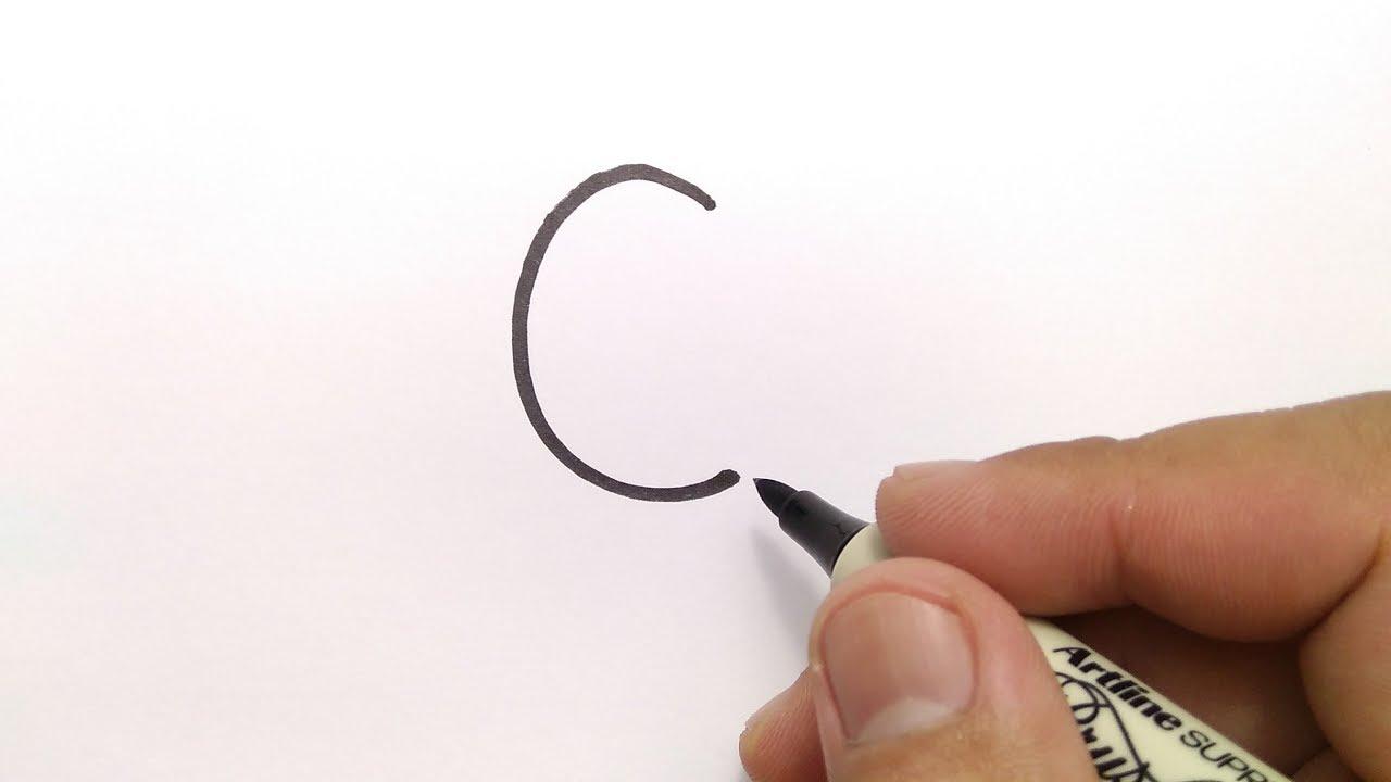 cara menggambar huruf C menjadi gambar CICAK CUMICUMI