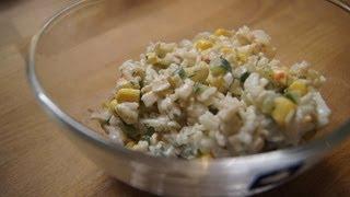 """Salat aus Krabbenstäbchen """"Surimi""""/ Салат из крабовых палочек с рисом"""