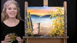 Learn How to Paİnt OCEAN BEACH CHAIR with Acrylic - Paint and Sip at Home - Step by Step Tutorial