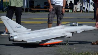 Agile performance R/C Scale Jet Eurofighter Typhoon with Canard and fuel Tanks Payerne Air Show 2015