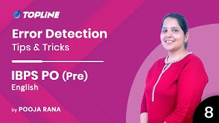 Error Detection | English Tips & Tricks for Bank & IBPS PO PRE by Pooja Mam